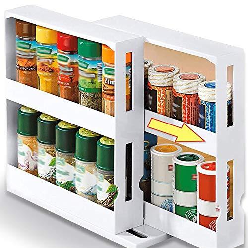Elibeauty 2-stufiges rotierendes Gewürzregal Rotierende Küchengewürze und Gewürzlagerungsorganisation Multifunktionales Lagerregal für Gewürze, Konserven, Küchen-Bad-Organizer (weiß)