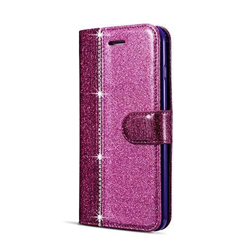 JAWSEU Compatible avec Samsung Galaxy A8 2018 Coque Portefeuille PU Étui Cuir à Rabat Magnétique Diamant Strass Glitter Paillette Brillant Couleur de Épissure Stand Leather PU Flip Wallet Case,violet