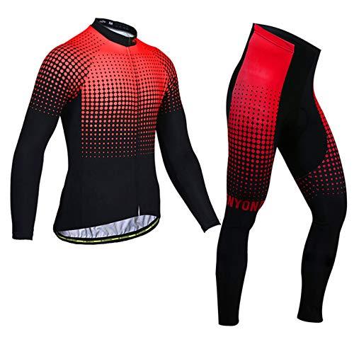 Herren Langarm Radsportanzüge Radtrikot Set MTB Radfahren Kleidung Langärmeliges Fahrradtrikot Atmungsaktiv Elastische Schnell Trocknend mit 3D Gel Sitzpolster Men's Cycling Suit,ZX13,3XL