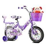 CHUNLAN Bicicleta De Princesa Bicicleta Para Niños Con Ruedas De Entrenamiento Cesta Asiento Trasero Y Muñeca Regalo Para Niña 2-12 Años De Edad Bicicleta Infantil 14/12/(Size:14 INCHES,Color:PÚRPURA)