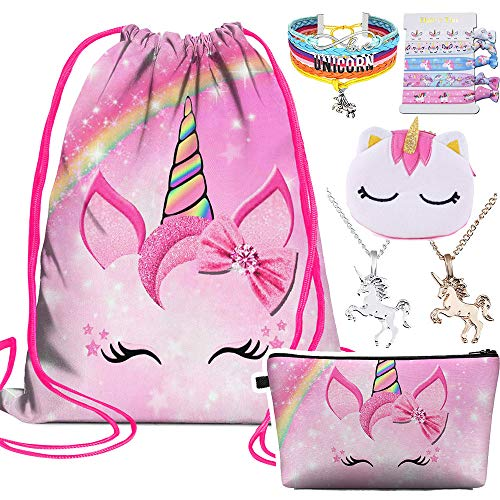 6 PCS Unicorns gifts for girls-Unicorn Drawstring Backpack/Makeup Bag/Jewelry/Necklace/Hair Ties/Coin Purse,Birthday Gifts for Girls