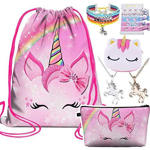 Unicornios regalos para niñas mochila con cordón de unicornio/bolsa de maquillaje/joyería/collar/corbatas/monedero regalos de cumpleaños para mujeres