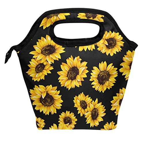 Wamika Sunflowers Retro Daisy Lunch Bag Boxes Cooler Thermal Tote Insulated Reusable for Kids Students Boys Girls School Supplies,Floral Lunch Bag Lunchbox Waterproof Zipper Office Picnic Travel Bag