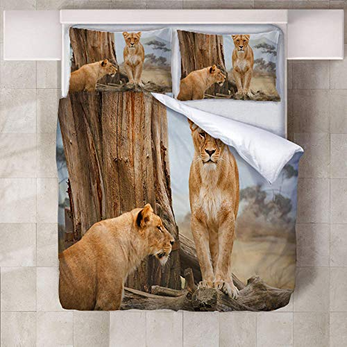 3D Bedding Set Animal lion Printed Duvet Cover Set with 2 Pillowcases Microfiber Quilt Cover with Zipper Closure,Single/140x200cm