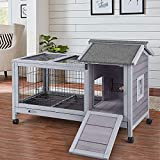 Aivituvin Rabbit Hutch Indoor Bunny Cage Outdoor with Deeper No Leak Tray, Rabbit Cage Bunny House with Run (40.4' L x 23.6' W x 28.3' H)