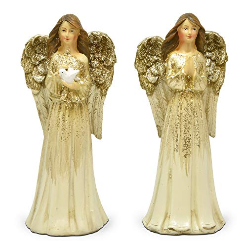 Gift Boutique Christmas Angels Indoor Figurine Resin, Set of 2 Standing Ivory and Gold Statue Decoration for Home Shelves Porch Yard Garden Fireplace Mantle