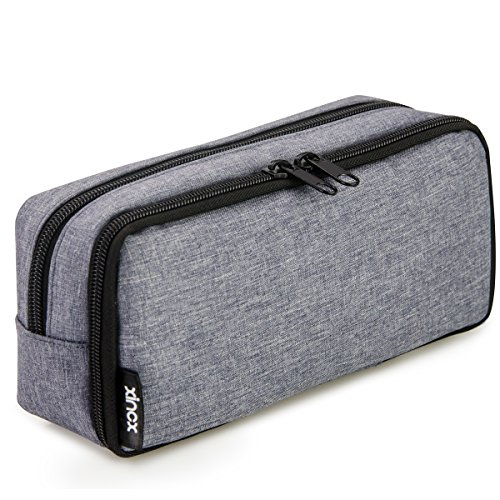Simple Large Pencil Pouch Big Cosmetic Pouch Bag Pen Bag,Stationery Pouch,Multi-Colored Pencil case,Large Capacity Zipper Pencil Bag (Dark Gray)
