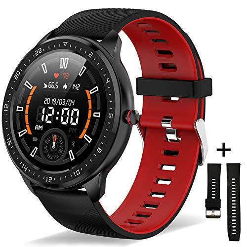 BAUISAN RelojInteligenteMujer Hombre, Smartwatch Impermeable con Pantalla Táctil Bluetooth Monitor de Ritmo Cardíaco, Monitoreo del Sueño Podómetro Compatible con iOS Android Teléfono