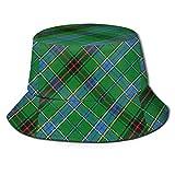 Lawenp Estilo escocés Clan Duncan Tartan Plaid Unisex Impresión Sombrero de Cubo Patrón Sombreros de Pescador Verano Reversible Packable Cap Mujeres Hombres Niña Niño Negro