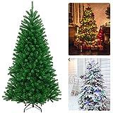 Arbol Navidad Artificial 150cm con 450 Ramas, Árbol de Navidad Frondoso con Soporte Metálico, Abetos de Navidad de PVC Ignífugo Fácil de Instalar para Decoración Navideña, Verde