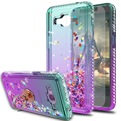 Galaxy Grand Prime Case,Galaxy J2 Prime Case with HD Screen Protector With Ring Holder,KaiMai Glitter Moving Quicksand Clear Cute Shiny Girls Women Phone Case For Samsung Galaxy G530H-Aqua/Purple Ring