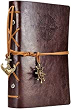 Leather Writing Journal Notebook, EvZ 7 Inches Vintage Nautical Spiral Blank String Diary Notepad Sketchbook Travel to Write in, Unlined Paper, Retro Pendants, Classic Embossed, Coffee