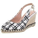 TUDUZ Zapatos Planos para Mujer Sandalias Bombas De Cuña Zapatos De Tacón Punta Estrecha Zuecos Mules Hebilla (C-Blanco, 36)
