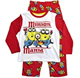 Die Minions Schlafanzug Jungen Pyjama (Weiß-Rot, 104)