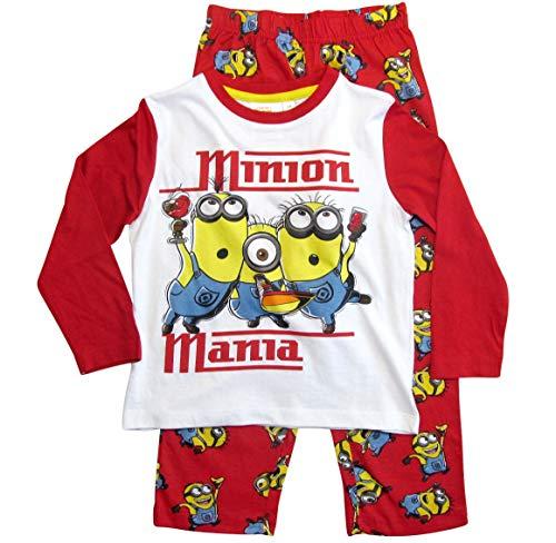 Die Minions Schlafanzug Jungen Pyjama (Weiß-Rot, 98-104)