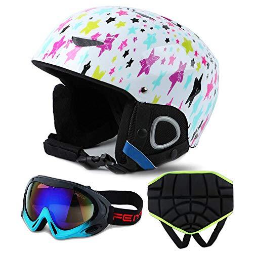 Liujie Outdoor-sport-skihelm voor kinderen, integraal gevormde winterskihelmen voor skiërs, skibril en heupbescherming.