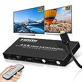 4K HDMI Matrix Ippinkan 4x2 Matrice HDMI Switch Splitter Audio 4k60Hz FullHD120Hz Supporto 3D HDR UHD HDCP2.2 HDMI 2.0 Toslink Coassiale L/R per SkyQ HDTV ecc