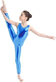 Kid's Metallic Sleeveless Long Sleeve Full Body Gymnastics Unitard Foil Costumes Lycra Spandex Tank Bodysuit