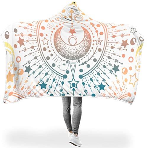 RNGIAN Moon Star Weiche, warme Bedruckte Überwurfdecke für Sofa, Büro, Bett und Reisen, Polyester, weiß, 60x80 inch