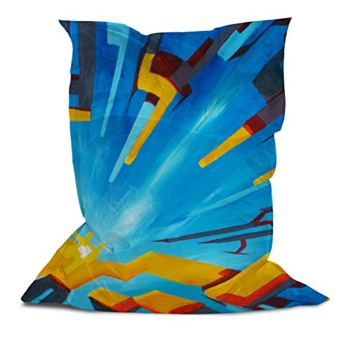 AAA Best Soft Cozy Comfortable Extra Large Pillow Bean Bag Chair Lounger for Adults Kids Teens with Printed Square Abstract (5' x 4.4')