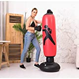 BOOMGROO Inflatable Punching Bag with Stand - Boxing Bag Heavy Bag Stand Strength Enhancer Boxing Toy for Kids and Adults (Red)