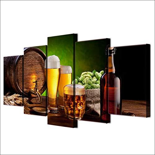 UDPBH 5 Panel Hd Gedrukt Bier Vat Fles Hop Malt Huis Schilderen Canvas Print Room Decor Print Poster Foto Canvas
