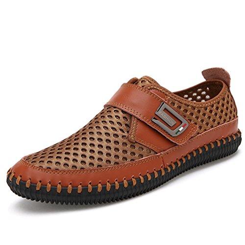 Homme Chaussure au Loisir sans Lacet Légère Chaussure de Ville en Cuir Ajouré Respirante Brun Clair 46