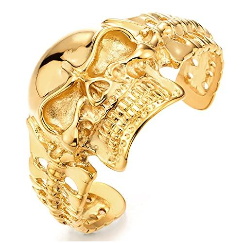 COOLSTEELANDBEYOND Grandes y Pesados, Grande Color Oro Pulsera de Hombre, Brazalete Cráneo, Acero, Espejo Pulido, Biker