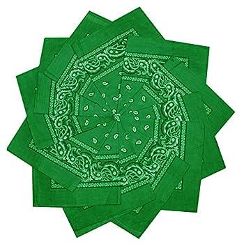 12 Pack 100% Cotton Paisley Bandana Head Wrap  Green