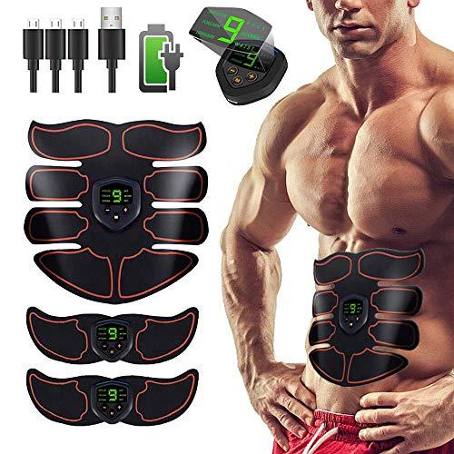 Elettrostimolatore Muscolare,EMS Stimolatore Addominale, Elettrostimolatore per Addominali,Cinture tonificanti,Addome/Braccio/Gambe/Waist/Glutei Massaggi-Attrezzi,USB Ricaricabile-Uomo/Donna