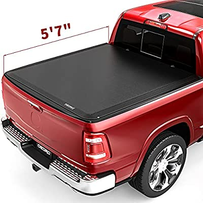 oEdRo Soft Roll Up Truck Bed Tonneau Cover Compatible with 2009-2021 Dodge Ram 1500 (Inclu. Classic & New), Fleetside 5.6 ft Bed w/o RamBox