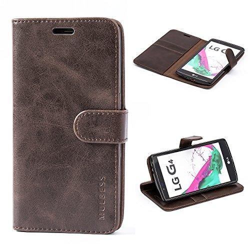 Mulbess Handyhülle für LG G4 Hülle Leder, LG G4 Handy Hüllen, Vintage Flip Handytasche Schutzhülle für LG G4 Case, Kaffee Braun
