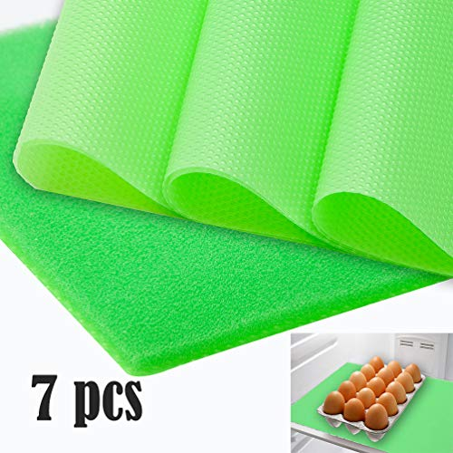 Refrigerator Liner Non-Slip Washable, Fridge Drawer Mats Non-Adhesive, Can Be Cut Fridge Pads for Fruit and Vegetable Drawers, Includes 6 pcs EVA Mat and 1 pcs Foam Liners(Green)