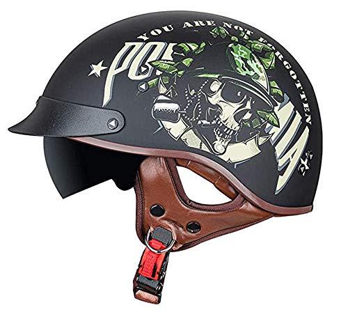 Casco abierto de motocicleta de medio casco con gafas certificadas DOT/ECE, seguridad deportiva Casco de motocicleta Cruiser Machete Motorcycle, Mofa Motorcycle Scoop Helmet 3,XXL=62-63CM