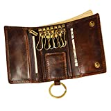 Le'aokuu Mens Genuine Leather Car Key Case Loop Hook Coin Case Cover Wallet Snap (Coffee 2)