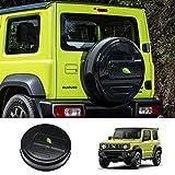 Huadi Jimny JB64W JB74W Cubierta de rueda de repuesto para Suzuki Jimny 2019 2020 ABS + PVC Cuero 27.55 pulgadas Protector de cubierta de neumático de repuesto Accesorios exteriores (negro)