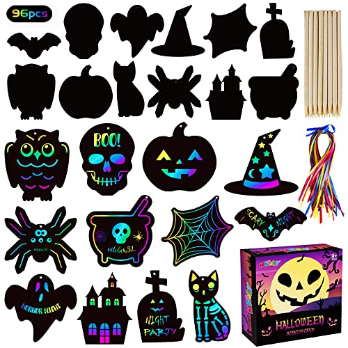 MGparty Scratch Paper Art for Kids - 96 Pcs Halloween Magic Rainbow Scratch Paper Off Cards Set for Kids Crafts Arts Supplies Halloween Ornaments Party Games Halloween Birthday Gift