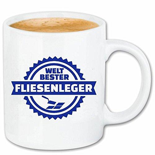 Reifen-Markt Taza de café con azulejos – Artesanía – Baldosas – Adhesivo para azulejos – Suelo de cerámica 330 ml en blanco