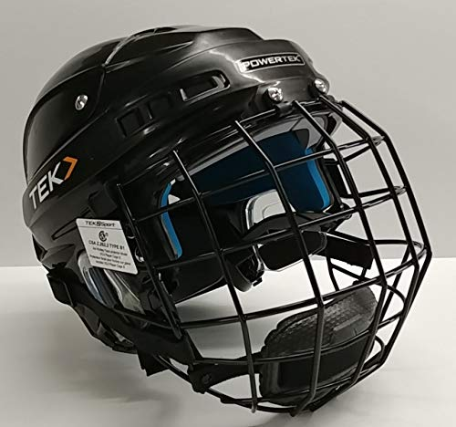 PowerTek v3.0 TEK Ice Hockey Player Helmet with Cage, Adjustable (Black, Junior Small)