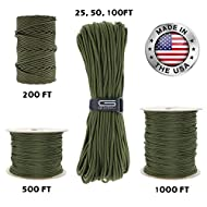 GOLBERG 550lb Parachute Cord Paracord - 100% Nylon USA Made Mil-Spec Type III Paracord - Used by The US Military - Multiple Colors and Lengths Available