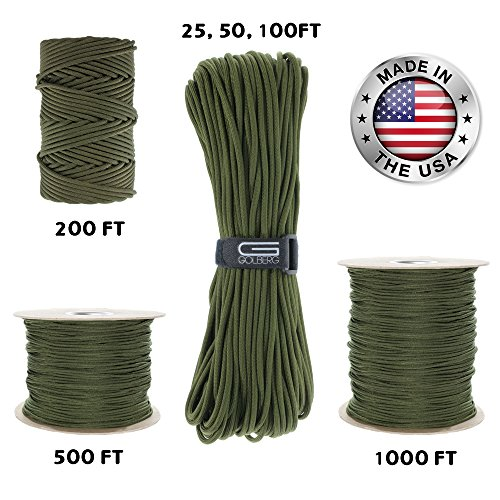 GOLBERG 550lb Parachute Cord Paracord  100% Nylon USA Made MilSpec Type III Paracord  Used by The US Military  Multiple Colors and Lengths Available Camo Green 100 Feet
