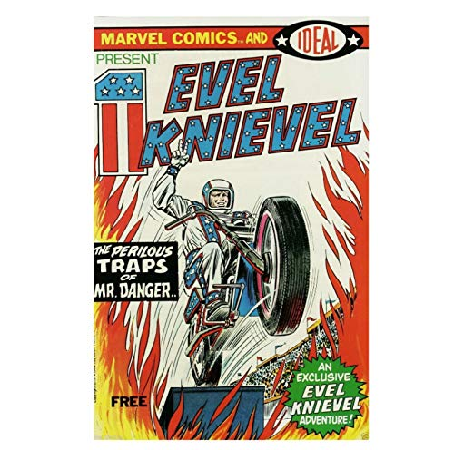 Qylfsxb Vintage Evel Knievel Movie Cover Art Poster Fashion Bedroom Hd Print On Canvas Artwork Gift Kids Room Decoraction-50X70Cm No Frame