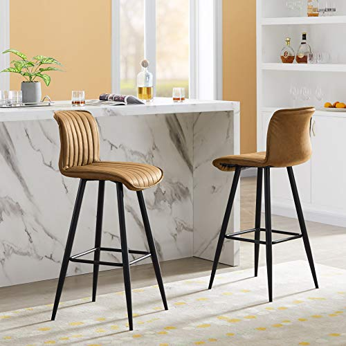 Tribesigns PU Leather Bar Stools Set of 2, Industrial Pub Barstools with Back and Footrest, Modern Armless Bar Chairs, Tall Kitchen Chairs Counter Height Stools Dining Stools