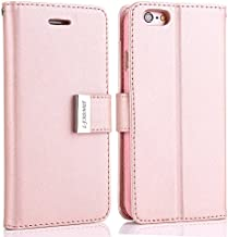 for iPhone 6S Plus/6 Plus (5.5 inch) Case,L-FADNUT Premium Flip PU Leather Case,Dual Card SlotsMetal Magnetic Closure with Stand Wallet Card Holder Protective Case Cover - Rose Gold