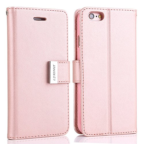 L-FADNUT for iPhone 5C Case, Luxury Flip PU Leather Case,Dual Card Slots Metal Megnetic Closure Stand Wallet Card Holder Case Cover for iPhone 5C Rose Gold