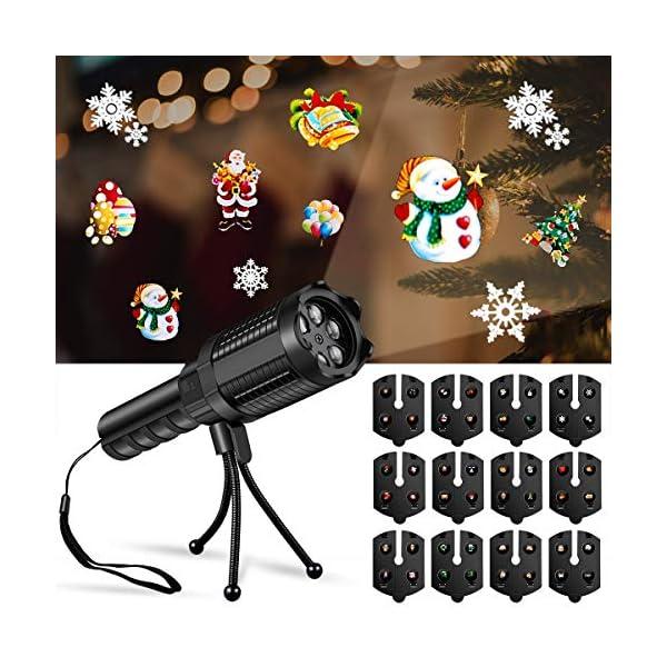 HWeggo-Projektionslampe-Weihnachtslicht-ProjektorLED-Projektor-mit-Motiven-Feiertagsdekoration-fr-Weihnachten-Party-Geburstag-Hochzeit