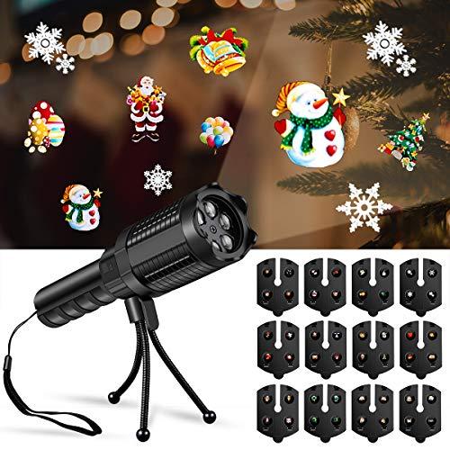 HWeggo Lámpara de proyector de vacaciones, Luces de Proyector Navidad dinámica y estática Diseños con 12 Diapositivas para fiesta en casa, cumpleaños, Halloween y Navidad