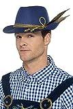 Smiffys Authentique chapeau Oktoberfest, Bleu, avec plume