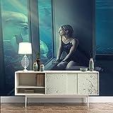 Fotomurales Abstracto Chica delfín en el acuario azul, Papel pintado tejido no tejido, Mural, Decoración de Pared decorativos Murales moderna Diseno Fotográfic, 250x175 cm -5 pieces