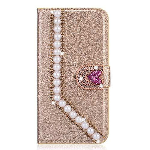 Miagon Hülle Glitzer für Samsung Galaxy A41,Diamant Strass Perle Herz PU Leder Handyhülle Ständer Funktion Schutzhülle Brieftasche Cover,Gold